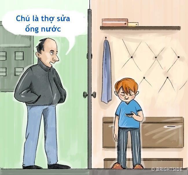 Không mở cửa cho người lạ khi ở nhà một mình