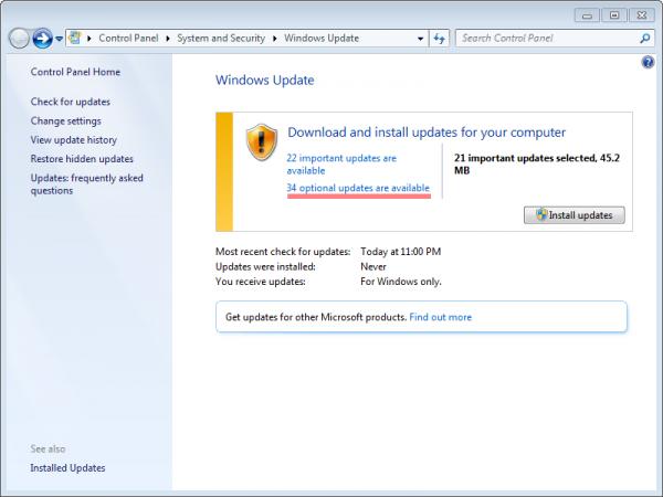 cua so windows 7 update