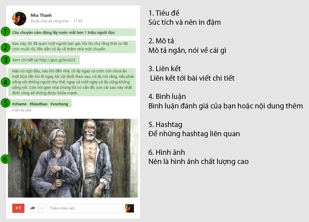 Bài đăng chuẩn trên Google Plus